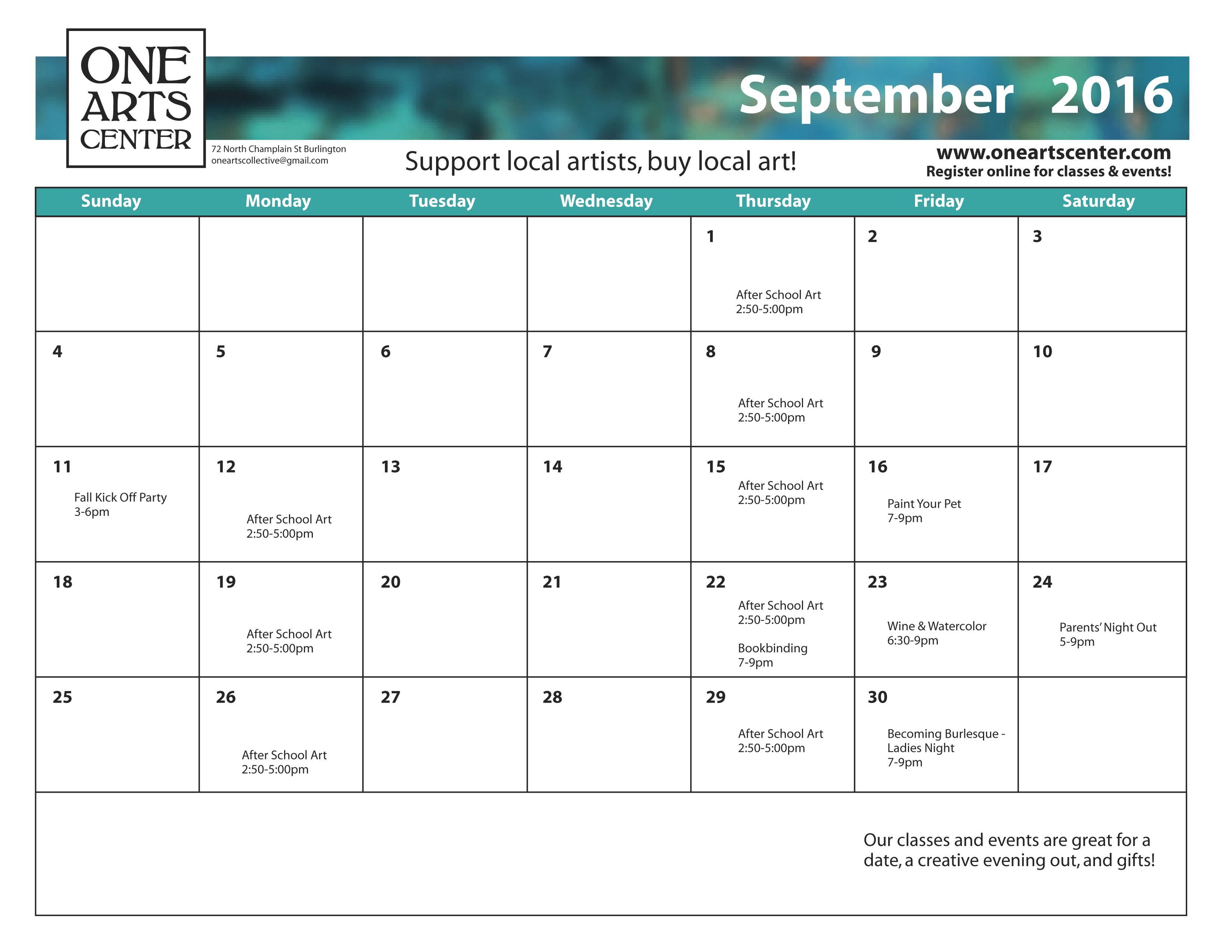 September calendar of events